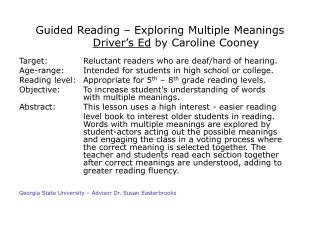 Guided Reading Exploring Multiple Meanings Driver s Ed via Caroline Cooney