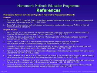 Manometric Methods Education Program References