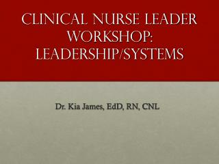Clinical Nurse Leader Workshop: Leadership