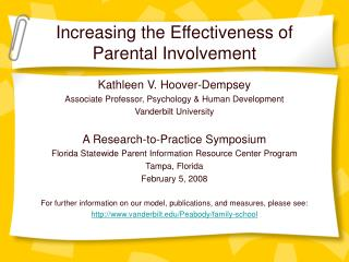Expanding the Effectiveness of Parental Involvement