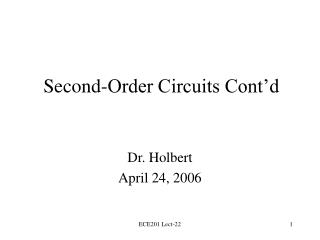 Second-Order Circuits Cont d