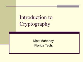 Prologue to Cryptography