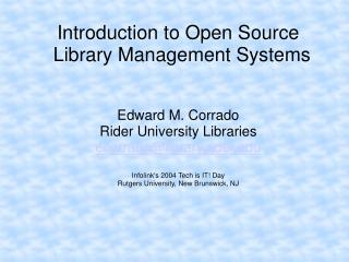 Prologue to Open Source Library Management Systems