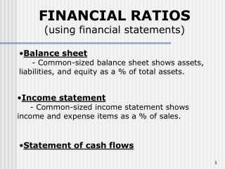 Money related RATIOS utilizing monetary explanations