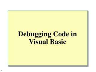 Investigating Code in Visual Basic