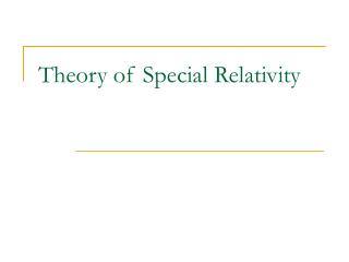Hypothesis of Special Relativity